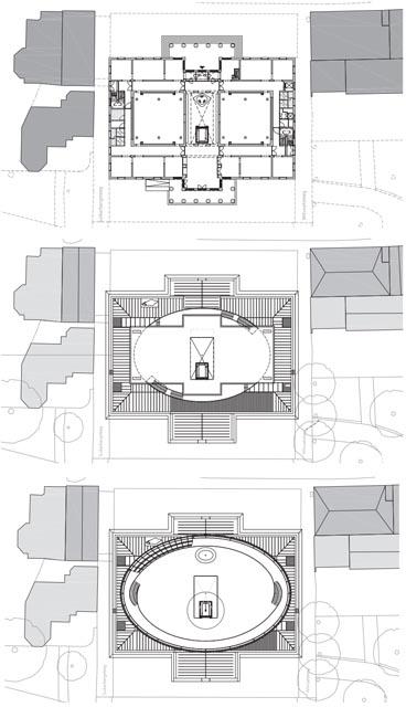 Plattegronden, begane grond, 3e en 4e verdieping (tekening: Bierman Henket)