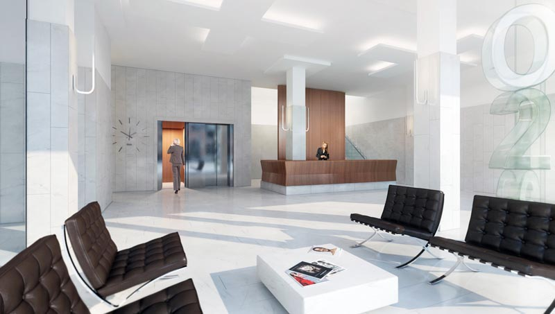 de lobby (impressie: V8 Architects)
