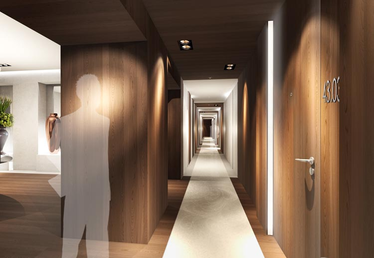 Appartment lobby corridor (beeld: Designed by Erick van Egeraat)