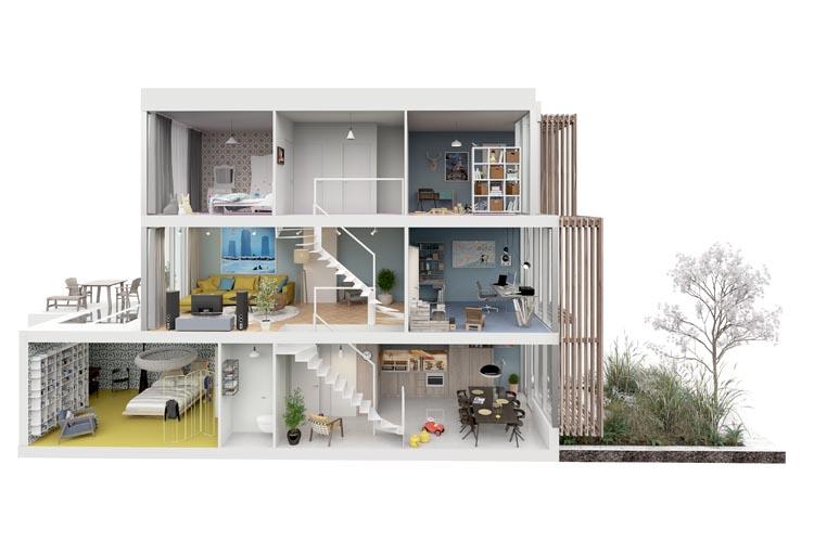 Doorsnede woning met vide (beeld: Arons en Gelauff architecten)
