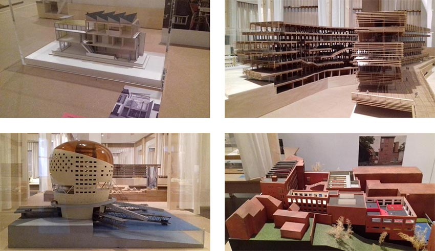 De tentoongestelde maquettes