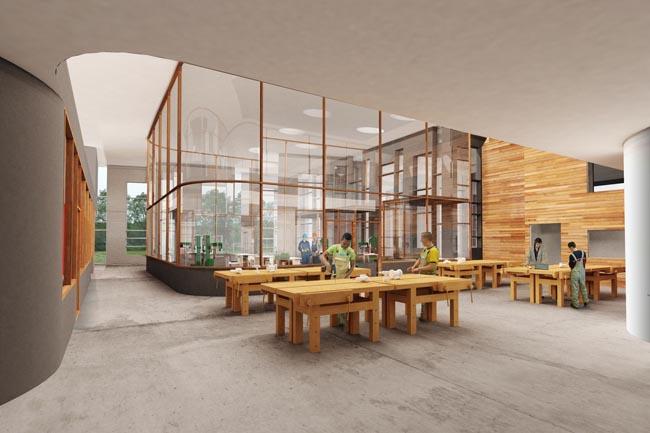 ROC Noorderpoort - praktijkruimte bouw (beeld: Mecanoo)