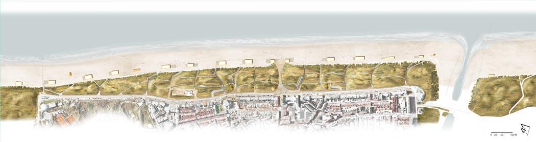 Het ontwerp van Okra voor kustverdediging Katwijk