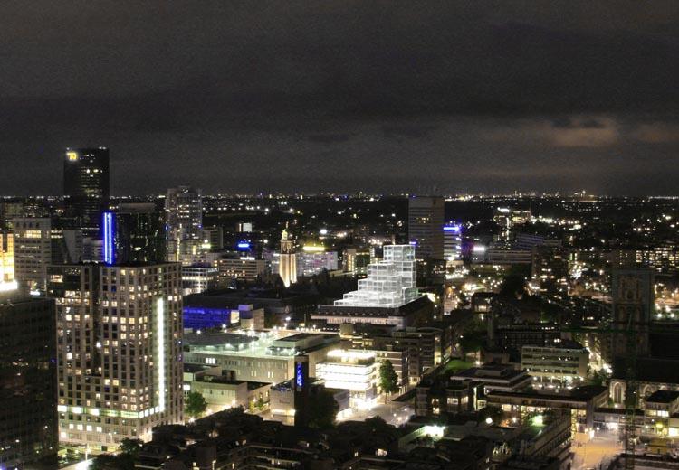 Skyline van Rotterdam met Het Timmerhuis (beeld: � OMA)