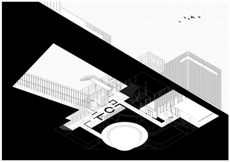 axonometrie ondergrondse ruimten (beeld: Shift Architecture Urbanism)