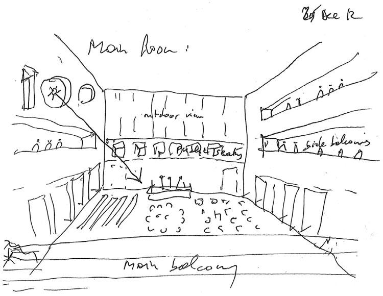 schets hoofdzaal (beeld: Bernard Tschumi Architects)